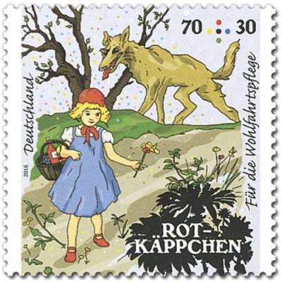 Briefmarke Rotkäppchen Wald