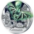 Leuchtende 3-Euro-Münze Fledermaus