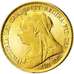 "1/2 Sovereign Victoria, ""Altes Porträt"""