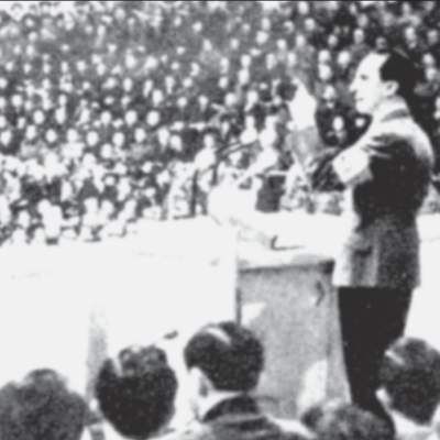 Propagandaminister Goebbels bei seiner Rede im Berliner Sportpalast.