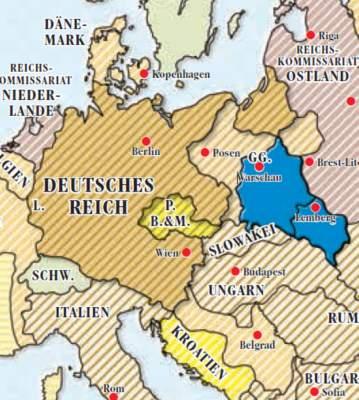 Kartenausschnitt mit dem Generalgouvernment in Blau