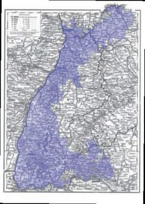 Kartenausschnitt mit den Landesgrenzen Badens