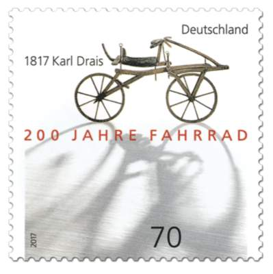 Briefmarke 200 Jahre Fahrrad - 1817 Karl Drais