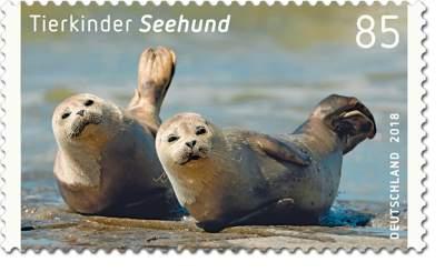 """Briefmarkenserie """"Tierkinder"""" Seehund"""
