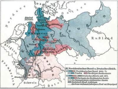 Kartenausschnitt mit den ehemaligen Landesgrenzen des Norddeutschen Bundes