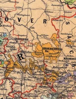 Kartenausschnitt mit den ehemaligen Landesgrenzen Braunschweigs