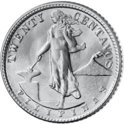 Die Vorderseite des phillippinischen 20-Centavos-Stücks aus echtem Silber