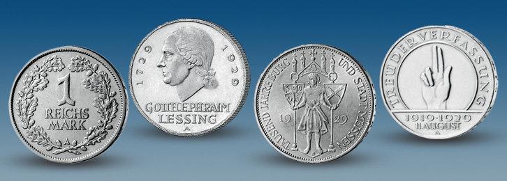 """Einige Münzen der Kollektion """"Geldstücke der Zwanziger Jahre"""""""