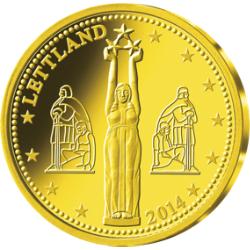 """Gold-Gedenkprägung """"Euro-Einführung in Lettland"""""""