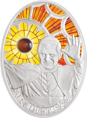 """Gedenkmünze """"Papst Benedikt XVI."""" mit Bernstein"""