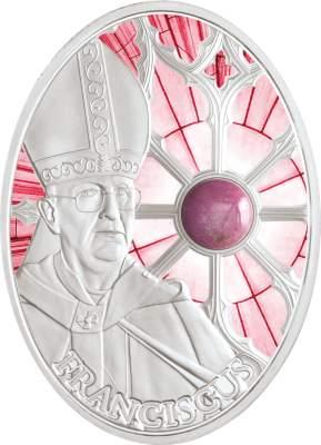 """Gedenkmünze """"Papst Franziskus"""" mit Rhodonit"""