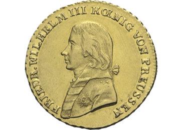 """Die Vorderseite der Goldmünze """"Friedrich Wilhelm III."""""""