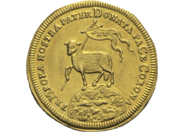 """Die Vorderseite der Goldmünze """"Lamm Gottes"""""""