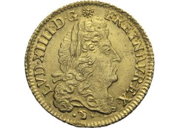 """Die Vorderseite der Goldmünze """"Ludwig XIV."""""""