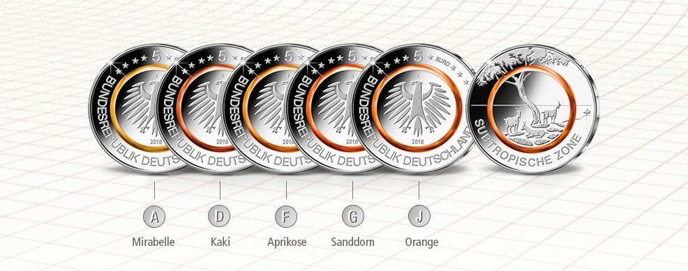 MDM - Komplett-Satz der deutschen 5-Euro-Gedenkmünze Subtropische Zone mit allen fünf Prägezeichen