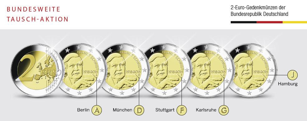 MDM - 5 x 2-Euro-Gedenkmünze 2018 100. Geburtstag Helmut Schmidt