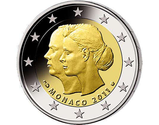 2 Euro Münzen Monaco Albert Rainer Charliene Münze