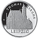 5 Mark Neusilber Münze DDR Thomaskirche, 1984