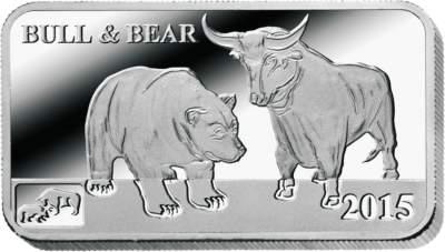 Bulle und Bär Silberbarren
