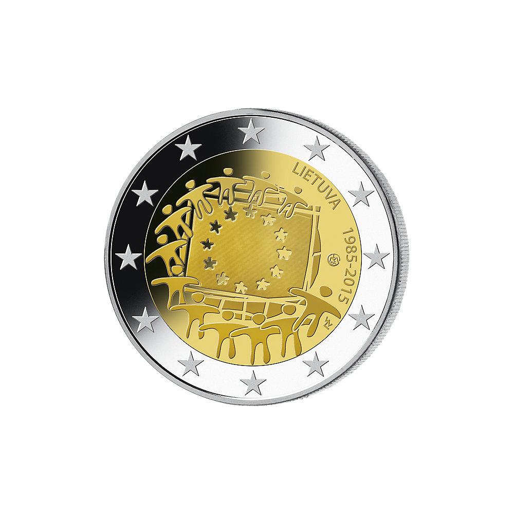 2 Euro Münze Lettland 30 Jahre Europaflagge 2015 Bfr Münzen