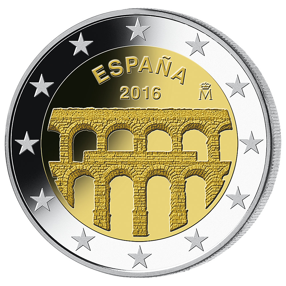 2 euro m nze spanien unesco weltkulturerbe aqu dukt von segovia 2016 bfr m nzen g. Black Bedroom Furniture Sets. Home Design Ideas