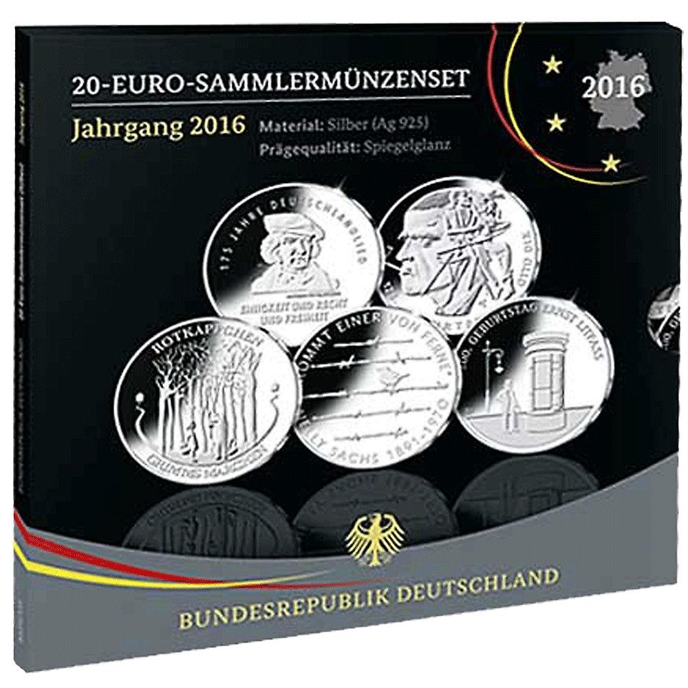 Die Offiziellen Deutschen 20 Euro Münzen Im Jahressatz 2016 Pp