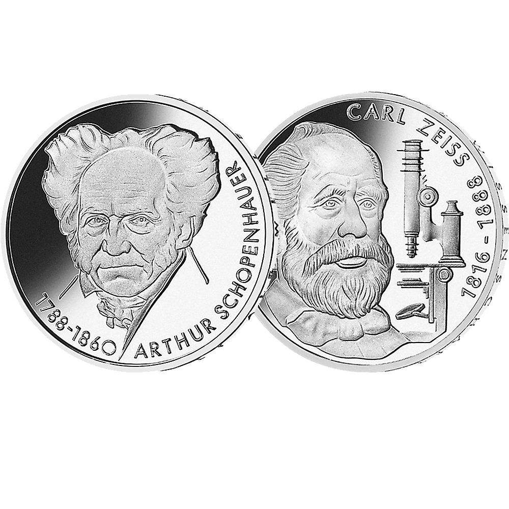 20 Dm Silbermünzen Set Brd Arthur Schopenhauer Und Carl Zeiss 1988