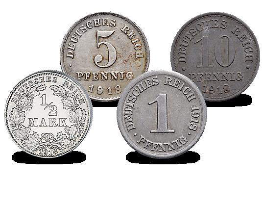 4er Set Deutsche Münzen Des Jahres 1918 Mdm Deutsche Münze
