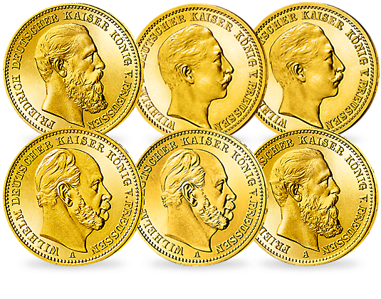 Komplett Set Deutsche Kaiser In Gold Mdm Deutsche Münze