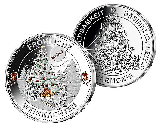 Weihnachtsprägung In Edlem Silber Mit Brillanter Farbveredelung