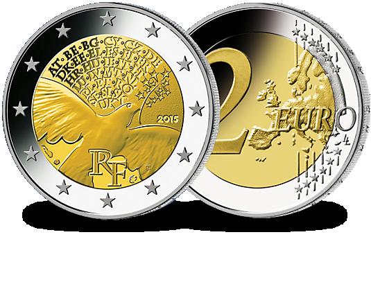 pi ce 2 euros france 70 ans de la paix en europe soci t fran aise des monnaies. Black Bedroom Furniture Sets. Home Design Ideas
