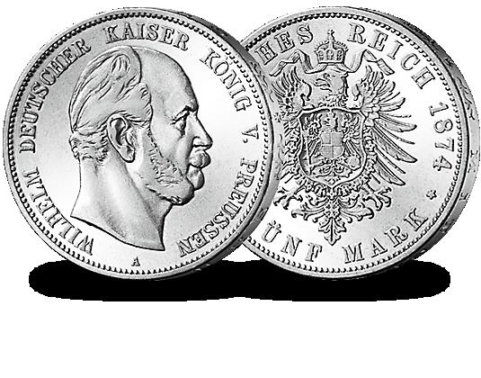 5 Mark Silbermünze Preußen 1874 1876 Wilhelm I Mdm Deutsche Münze