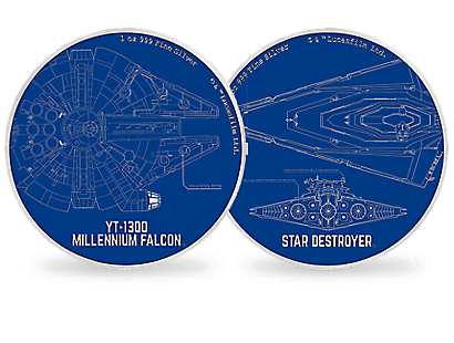 Star Wars Ships Blueprints 1oz Fine Silver Coins