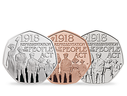 The 100th Anniversary of the Representation of the People Act 2018 50p Coins