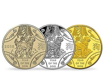 The Royal Mint Lunar Year of the Dog 2018 Gold, Silver & BU Coins