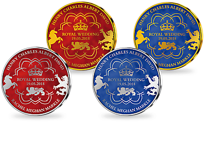 Royal Wedding - Prince Harry & Meghan Markle Gold & Silver Plated Commemoratives