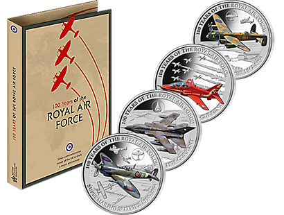 100 Years of the Royal Air Force Silver Coin Collection With Free Folder