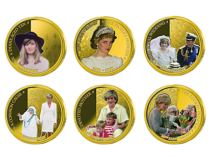Princess Diana 20th Anniversary Gold-Plated Coin Collection