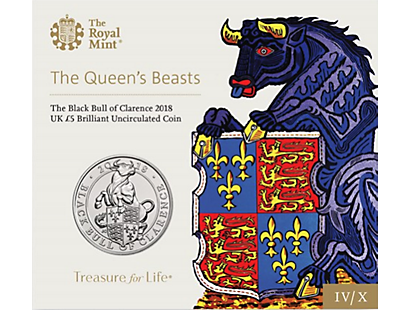 The Queen's Beasts - The Black Bull of Clarence 2018 £5 Brilliant Uncirculated Coin
