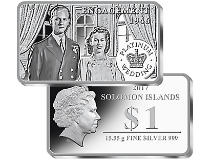 The Queen's Platinum Wedding Anniversary 2017 Silver Coin Bar Collection