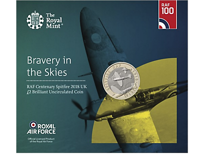 RAF Centenary Spitfire 2018 £2 Brilliant Uncirculated Coin