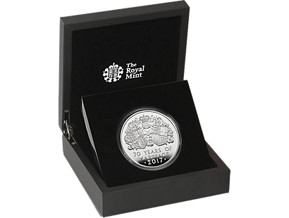 The Platinum Wedding Anniversary 2017 £10 Five Ounce Silver Proof Coin