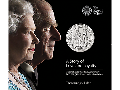 The Platinum Wedding Anniversary 2017 £5 Brilliant Uncirculated Coin