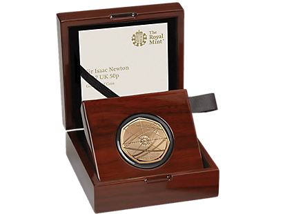 Sir Isaac Newton 2017 Gold Proof 50p Coin