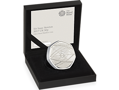 Sir Isaac Newton 2017 50p Silver Proof Piedfort Coin
