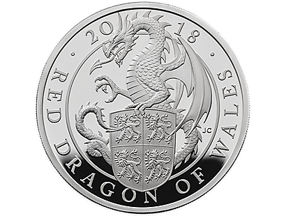 The Queen's Beasts - The Red Dragon of Wales 2018 Kilo Silver Proof Coin