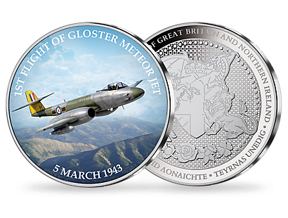 First Flight of the Gloster Meteor Silver Plated Commemorative