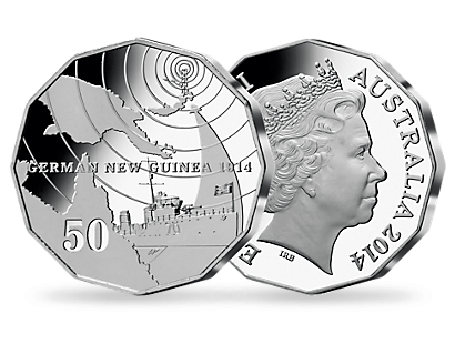 A 50¢ silver coin marking the centenary of the 1914 Battle of Bita Paka.