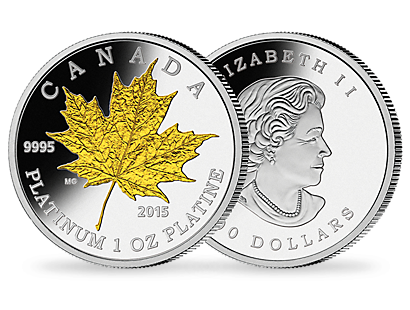 Maple Leaf Forever 1oz Pure Platinum Gold-Plated Coin