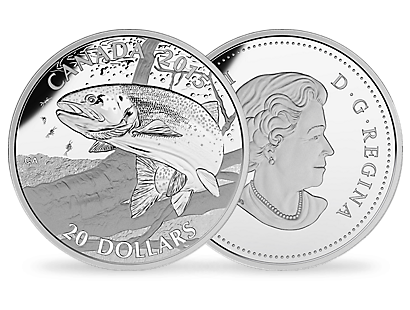 A fine silver coin celebrating one of Canada's most popular fish species among anglers.